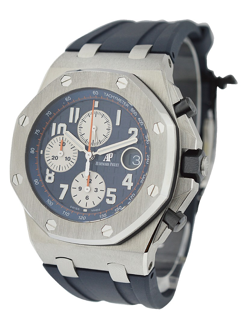 26470st oo audemars piguet royal oak offshore chrono steel on leather essential watches for Royal oak offshore navy