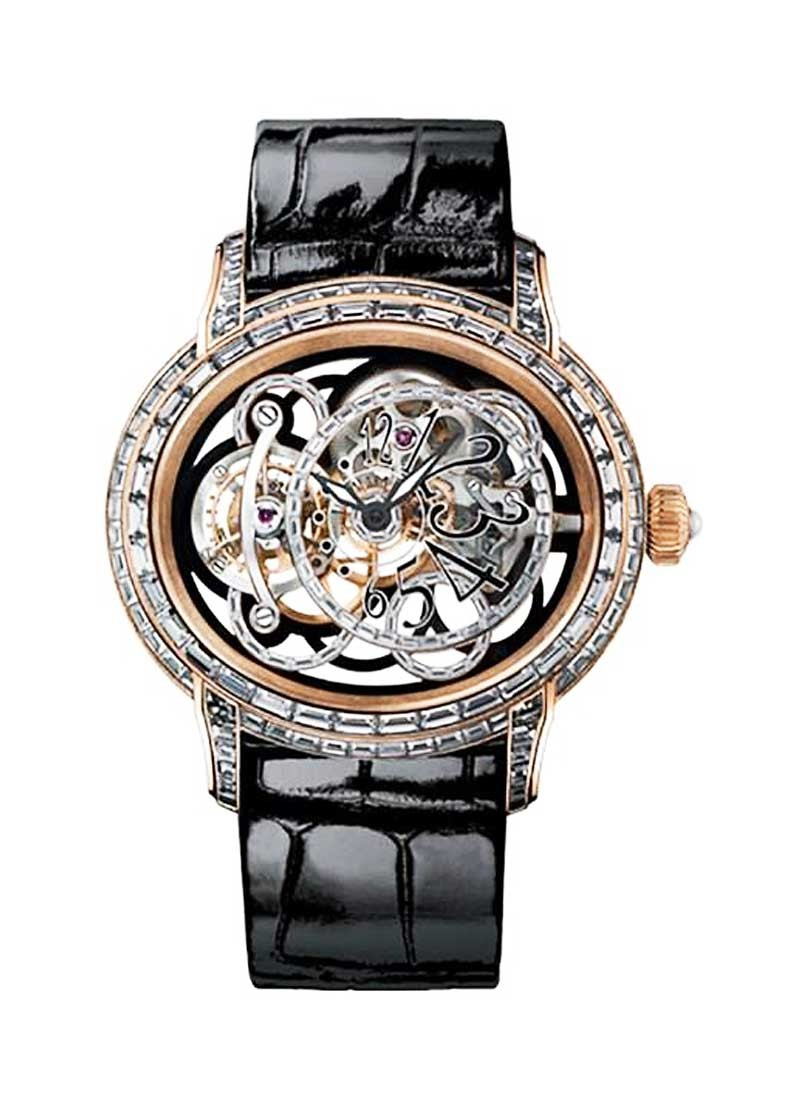 Audemars Piguet Millenary Onyx Tourbillon in Rose Gold with Baguette Diamond Bezel