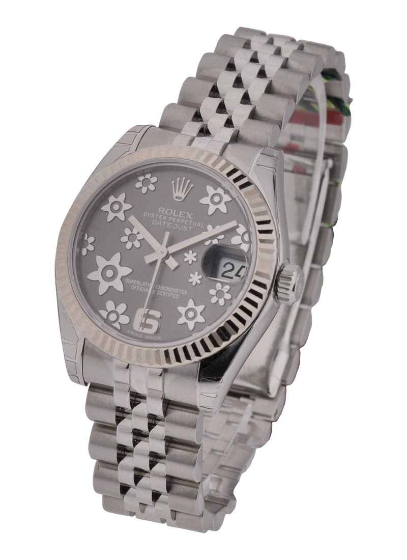 Rolex Unworn Mid Size Datejust 178274  with Rhodium Floral Dial