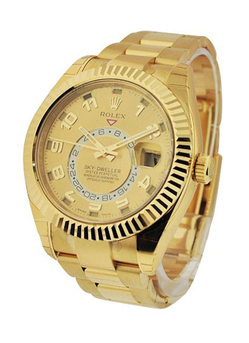 Pre-Owned Rolex Sky Dweller in Yellow Gold with Fluted Bezel