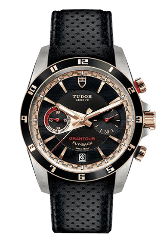 Tudor Grantour Chrono Flyback Automatic in Steel with Black Lacquered Rose Gold Bezel