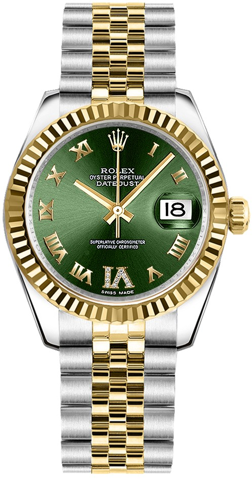 Rolex Unworn Datejust Mid Size in Steel and Yellow Gold Fluted Bezel