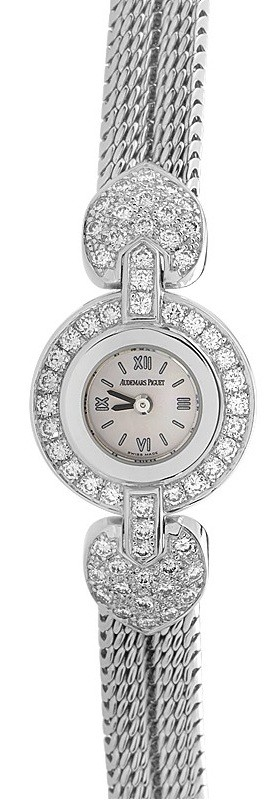 Audemars Piguet Ladys Round Diamond Watch in White Gold with Diamond Bezel