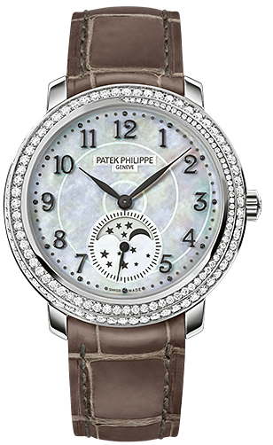 Patek Philippe Ladies 4968G   Moon Phase with Diamond Bezel