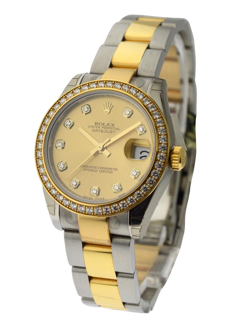 Rolex Unworn Mid Size Steel and Yellow Gold Datejust with Factory Diamond Bezel
