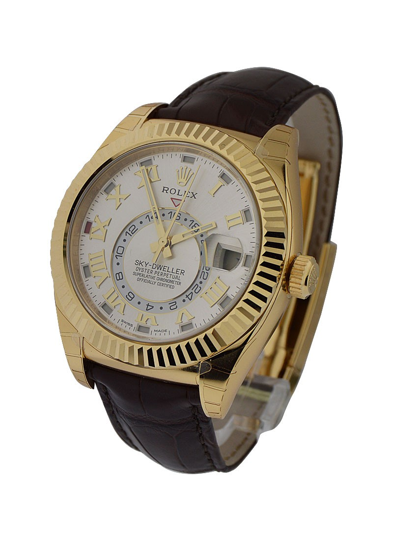 Rolex Unworn Sky Dweller Oyster 42mm in Yellow Gold   Fluted Bezel