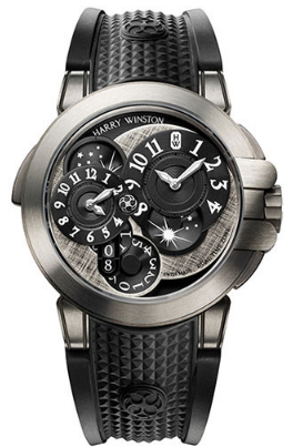 Harry Winston Ocean Dual Time Black Edition in Zalium