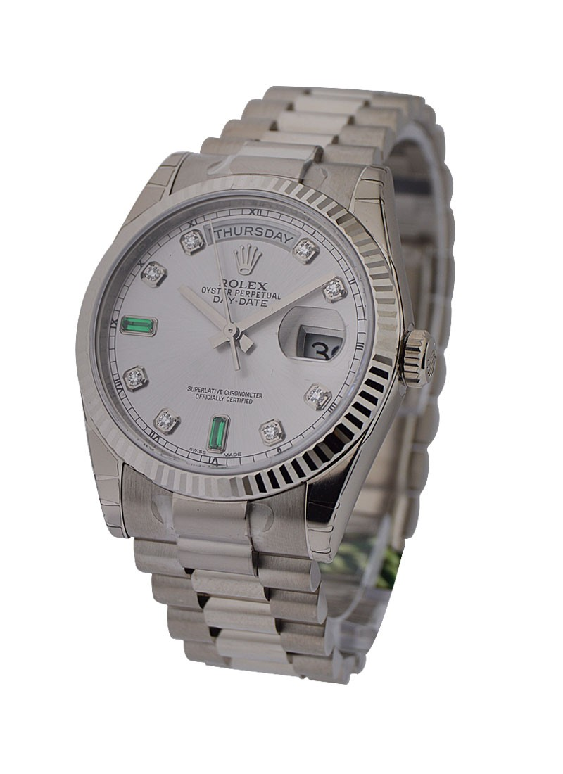 Rolex Unworn Presidential in White Gold  Emerald and Diamond Dial