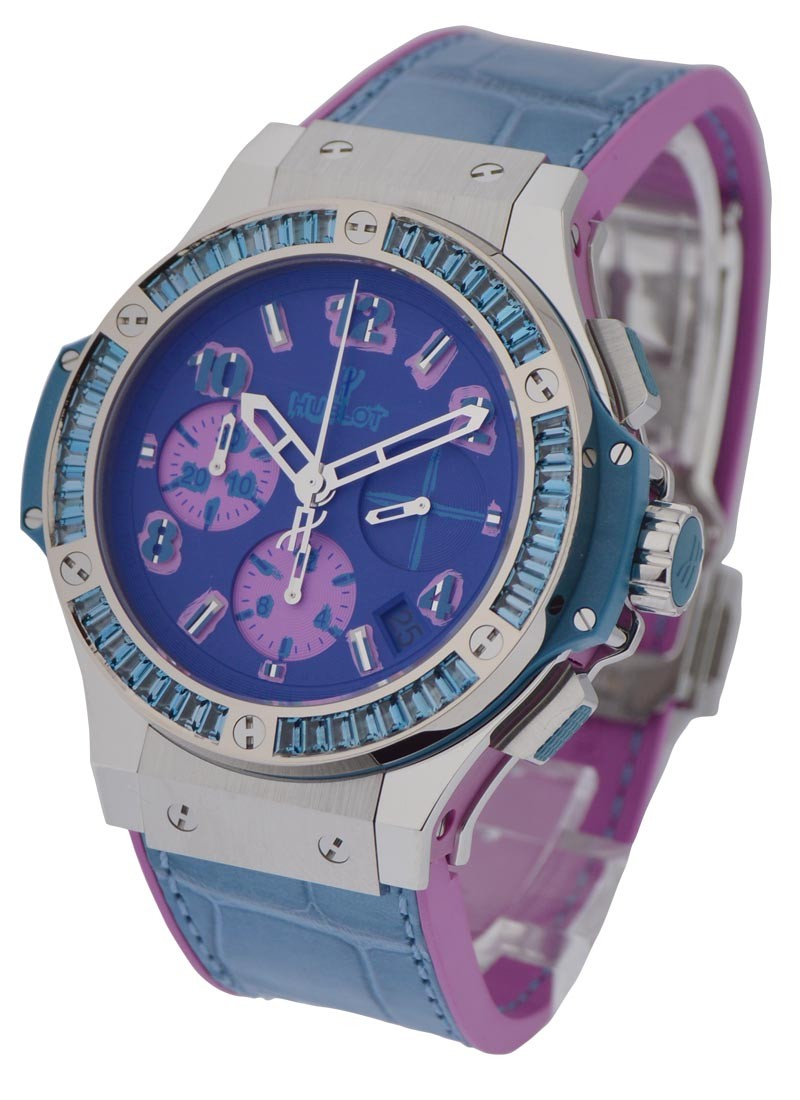 Hublot Big Bang 4mm Pop Art in Steel with Blue Baguette Diamond Bezel