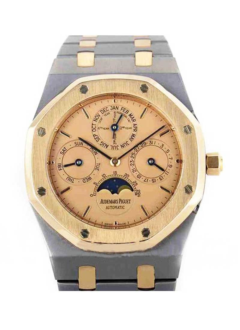 Audemars Piguet Royal Oak 2 Tone Quantieme Perpetuel in Tantulam with Yellow Gold Bezel