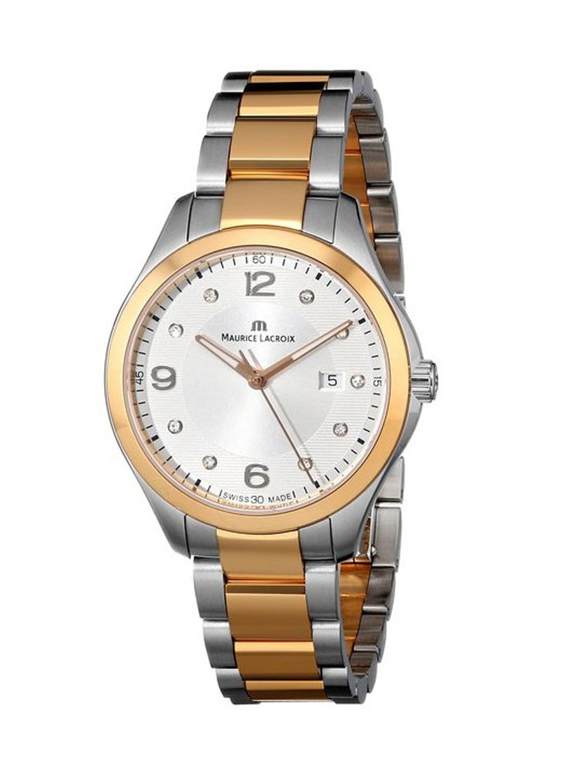Maurice Lacroix Miros Date Two Tone in Steel with 18k Rose Gold Plated Bezel