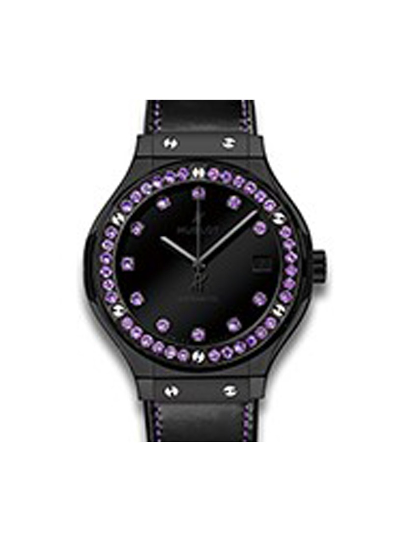 Hublot Classic Fusion Shiny  Black Ceramic with Amethyst Bezel