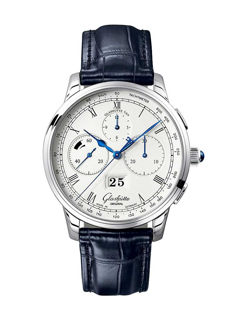 Glashutte Senator Chronograph Panorama Date 42mm Automatic in Platinium