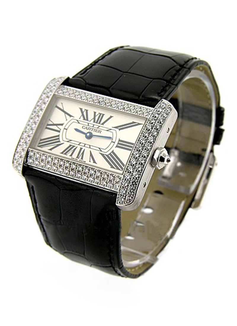 Cartier Tank Divan White Gold with Diamond Bezel