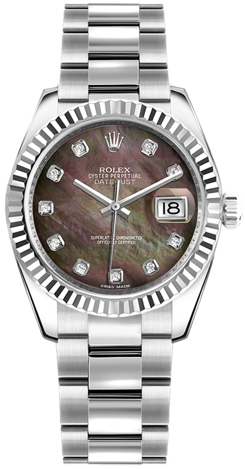 Rolex Unworn Datejust Mid Size in Steel and White Gold Fluted Bezel