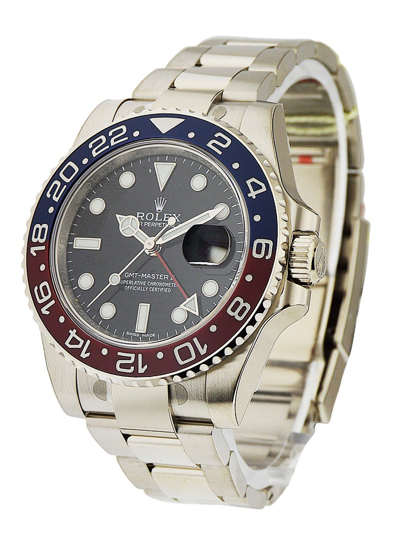 Rolex Unworn GMT Master II in White Gold with Red and Blue Ceramic Bezel