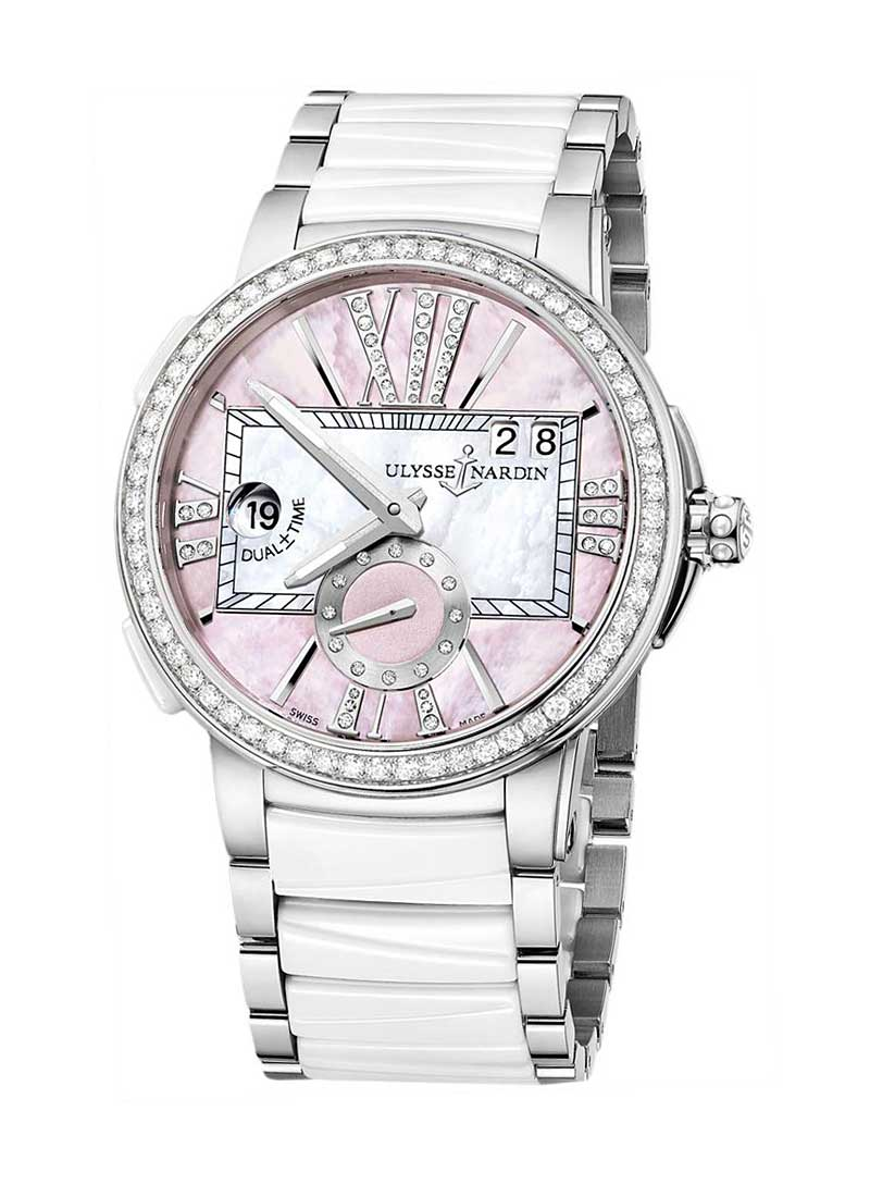 Ulysse Nardin Executive Dual Time 40mm in Steel and White Ceramic Diamond  Bezel