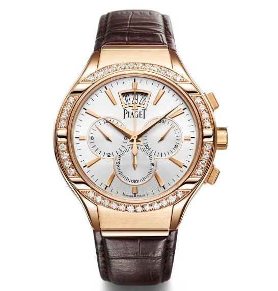 Piaget Polo Mens 43mm Automatic in Rose Gold with Diamond Bezel