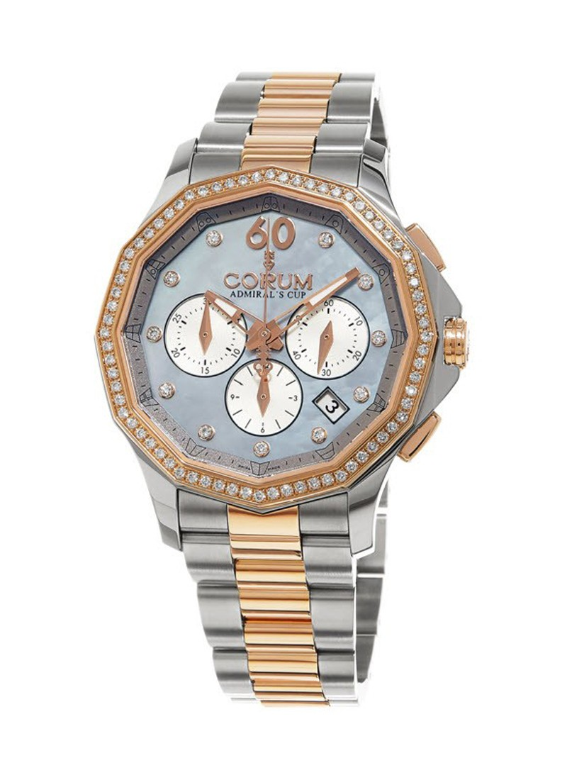 Corum Admirals Cup Legend Chronograph in Steel and Rose Gold  with Diamond Bezel