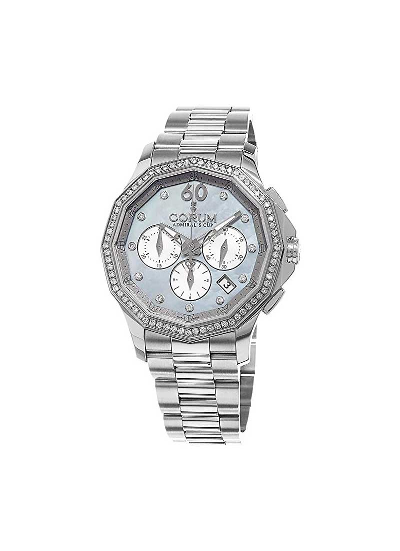 Corum Admirals Cup Legend Chronograph 38mm in Steel with Diamond Bezel