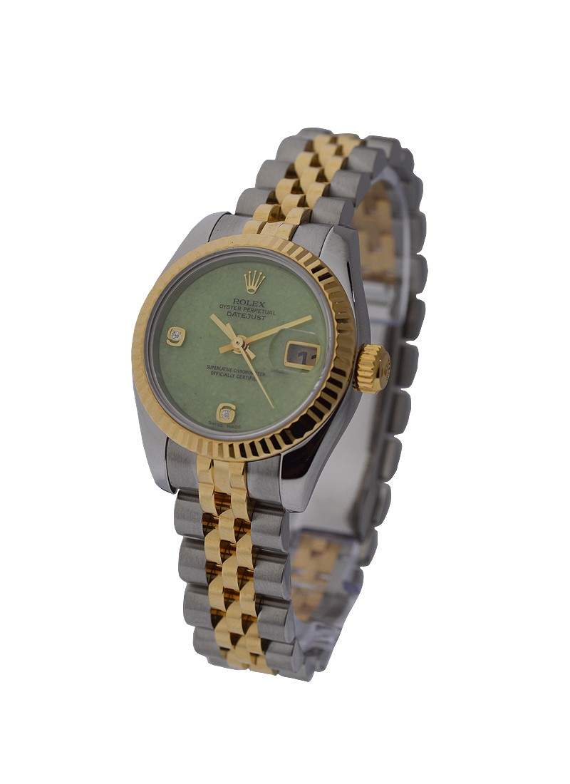 Rolex Used Ladies 2-Tone Datejust in Steel with Yellow Gold Fluted Bezel