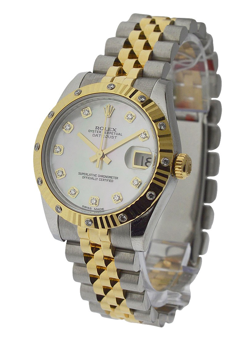 Rolex Used Midsize Datejust with Diamond Bezel 2 Tone