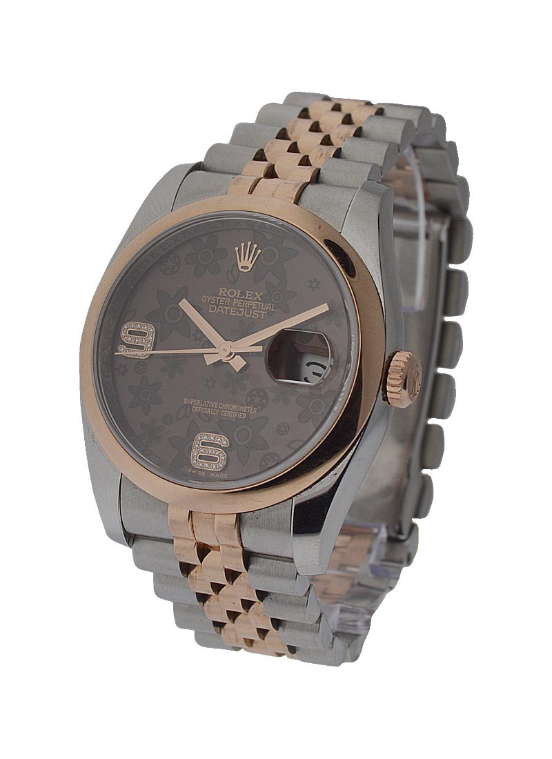 Rolex Used Men's 2 Tone Rose Gold Datejust