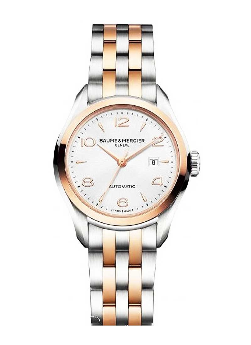steel with watch on watches mother essential baume dial pearl and diamond of bracelet bezel in mercier promesse main