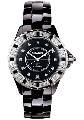 Chanel J12 Jewelry 33mm Automatic in Black Ceramic with Baguette Diamonds Bezel