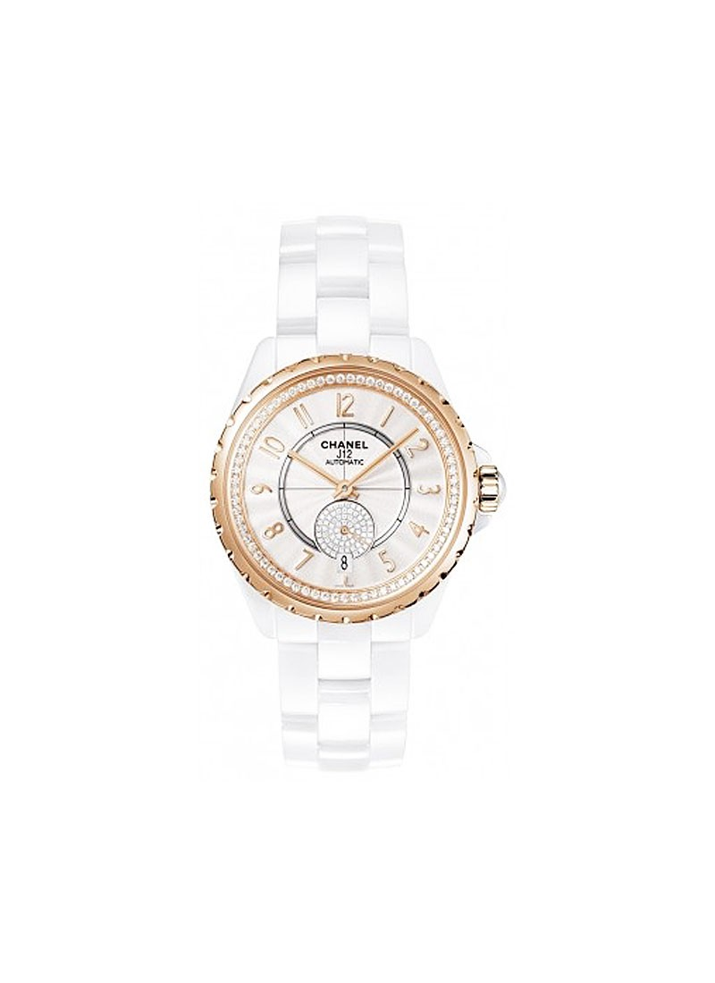 Chanel J12 36.5mm Automatic in White Ceramic with Rose Gold Diamond Bezel