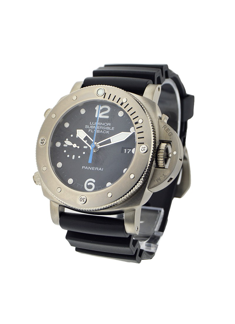 Panerai PAM 614   Luminor Submersible 1950 3 Days Chrono Flyback  in Titanium