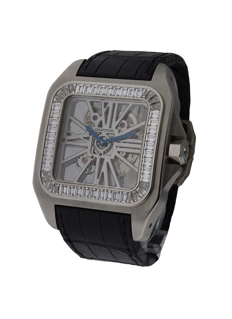 Cartier Santos 100 XL Palladium Skelton with Baguette Bezel