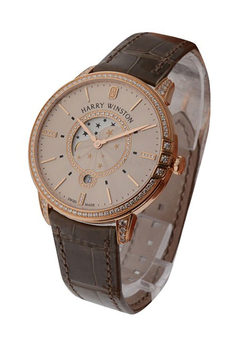 Harry Winston Midnight Moon Phase Rose Gold with Diamond Bezel