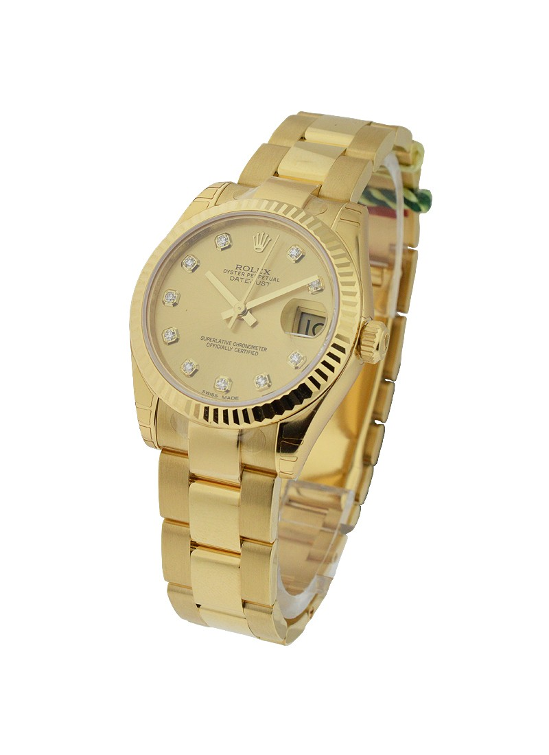 Rolex Unworn President 31mm Mid Size  in Yellow Gold with Fluted Bezel