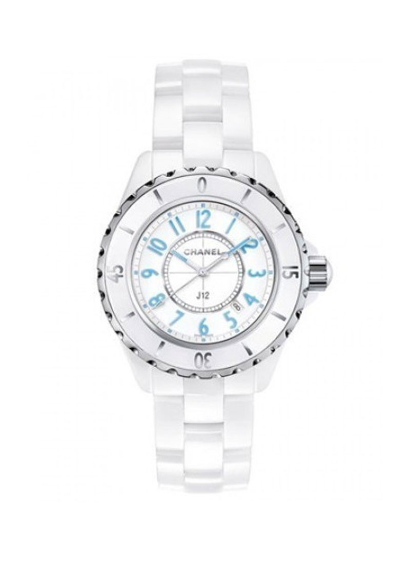 Chanel J12  Automatic 33mm White with Blue Numbers