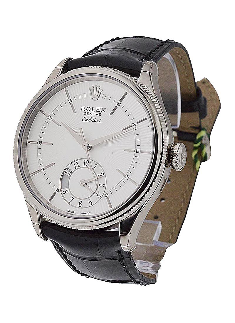 Rolex Unworn Cellini Dual Time 39mm Automatic in White Gold with Domed and Fluted Bezel