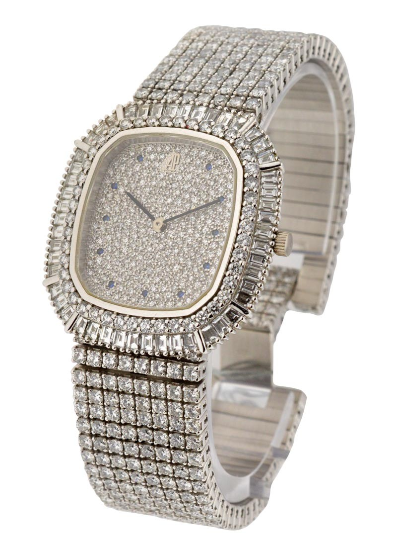 Audemars Piguet Mens Full Pave Diamond Dress in White Gold