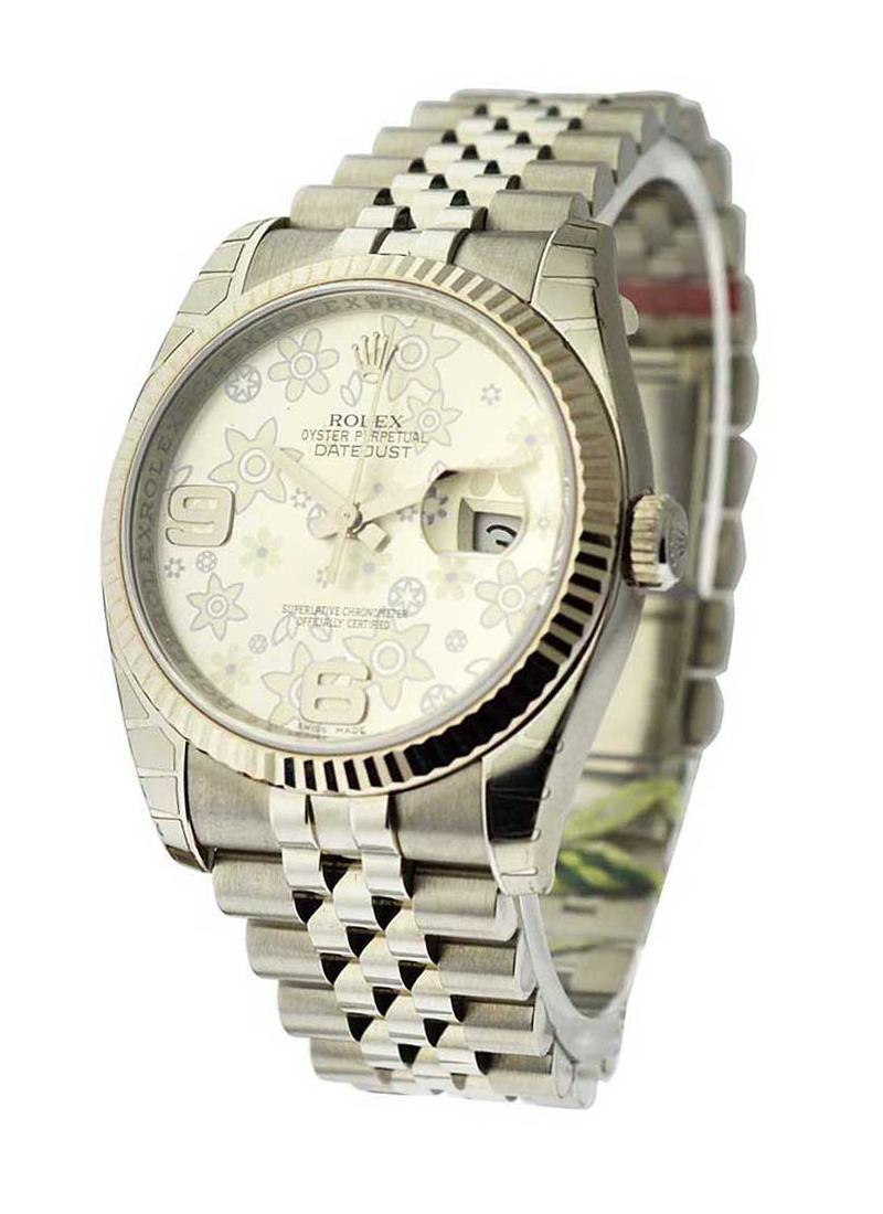 Rolex Unworn Datejust in Steel with White Gold Fluted Bezel