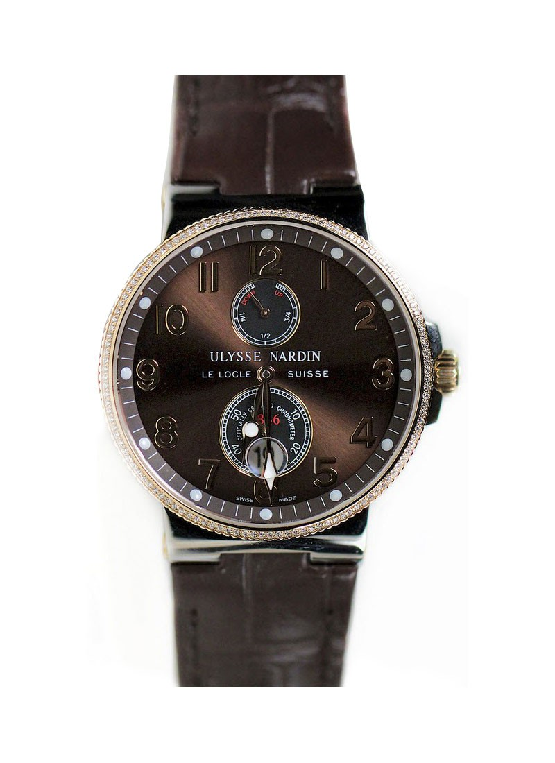 Ulysse Nardin Maxi Marine Chronometer in Steel and Rose Gold with Diamond Bezel