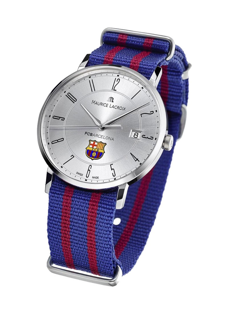 Maurice Lacroix FC Barcelona Eliros Date in Steel with Silver Dial