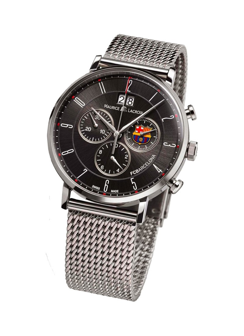 Maurice Lacroix FC Barcelona Eliros Chronograph in Steel with Black Dial