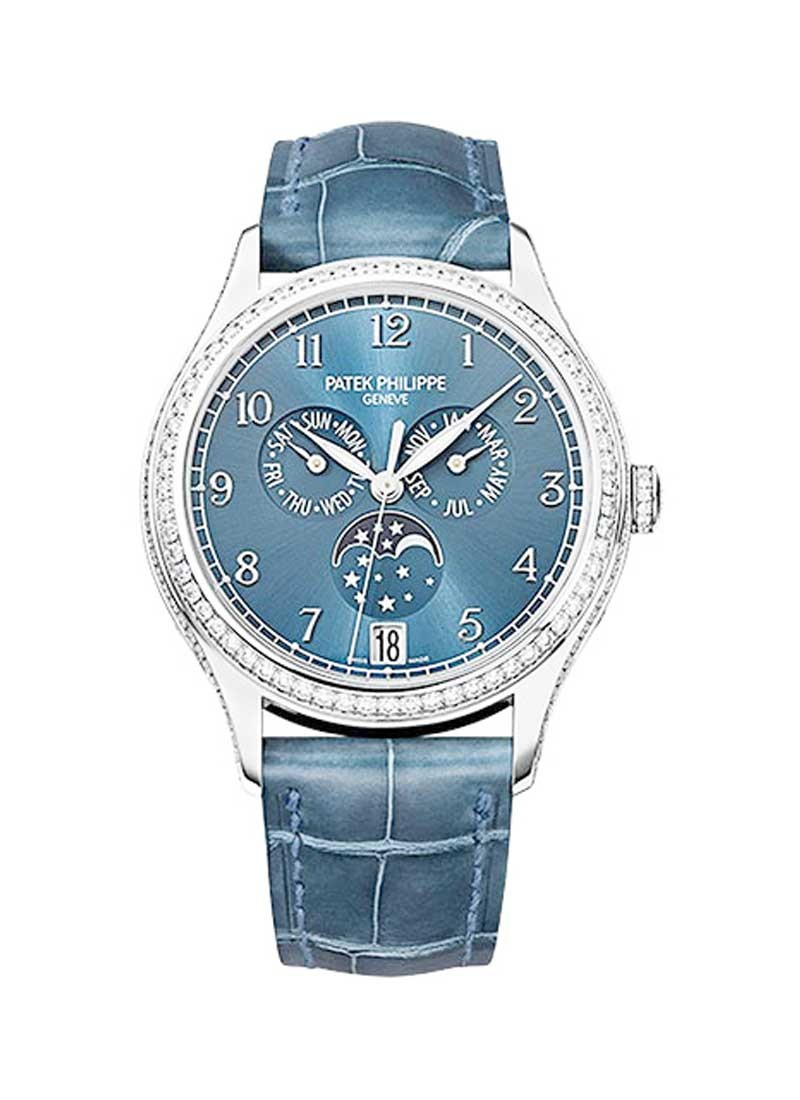 Patek Philippe Complications Ref 4947G 001 in White Gold with Diamond Bezel