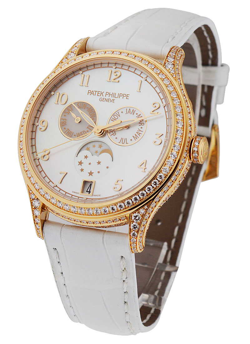 Patek Philippe Ladies Annual Calendar Moon Phase 38mm Automatic in Rose Gold with Diamonds Bezel