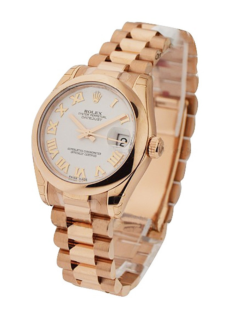 Pre-Owned Rolex Mid Size President - Rose Gold - Smooth Bezel
