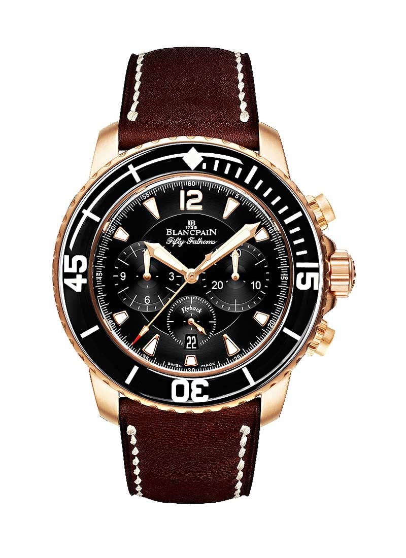 Blancpain Fifty Fathoms Flyback Chronograph 45mm Automatic in Rose Gold with Black Bezel