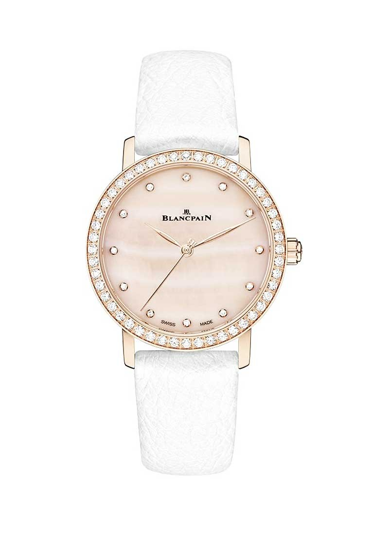 Blancpain Villeret Ultra Slim Ladies 29.2mm Automatic in Rose Gold with Diamond Bezel