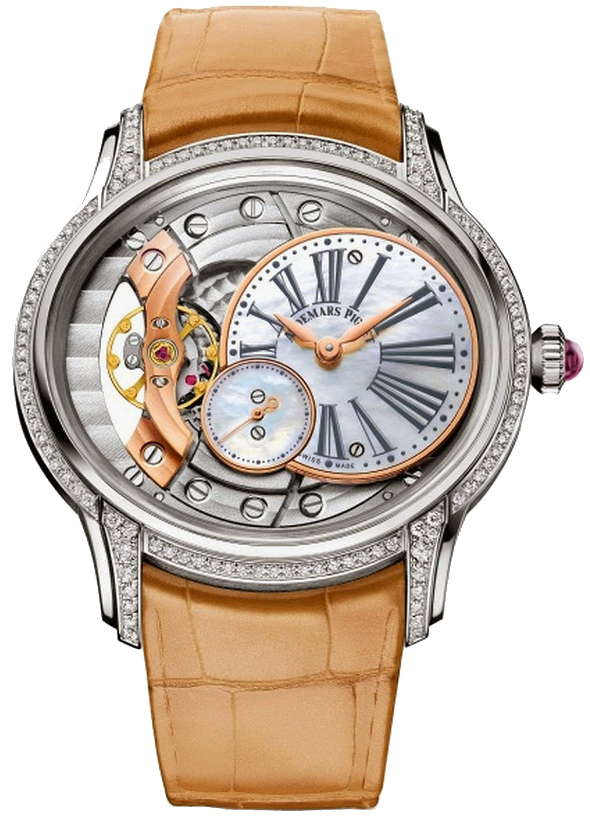 Audemars Piguet Millenary Ladies Hand Wound in White Gold with Diamond Bezel