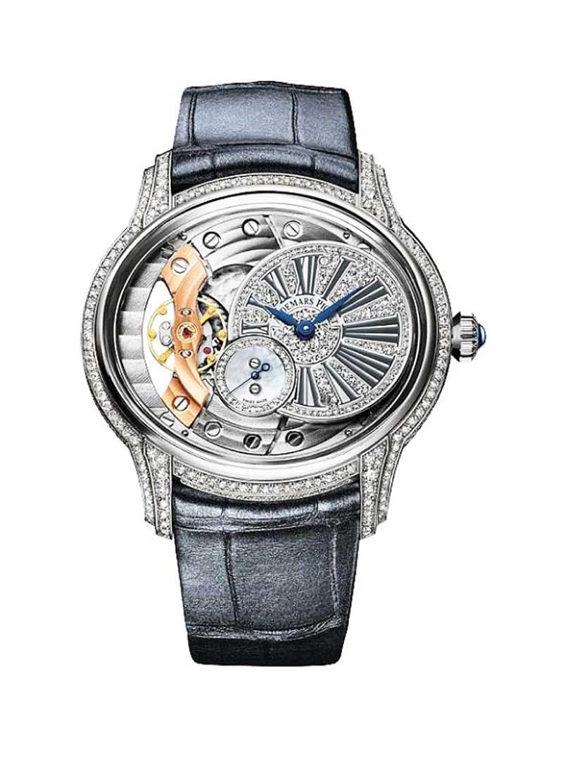 Audemars Piguet Millenary Ladies 39.5mm Manual in White Gold with Diamond Bezel