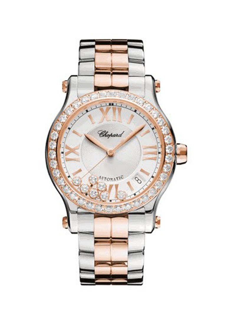 Chopard Happy Sport Round Automatic in Steel with Rose Gold Diamond Bezel