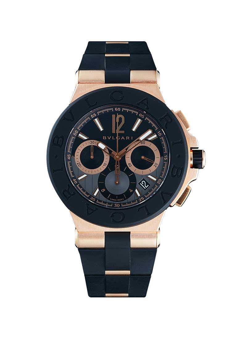 Bvlgari Diagono 42mm Automatic Chronograph in Rose Gold with Black Bezel